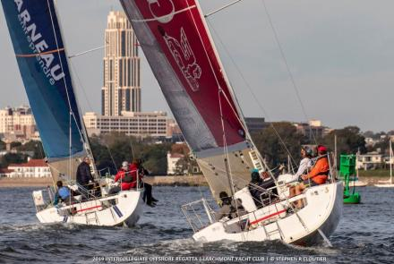 The offshore-capable Figaro2 features double rudders; a pair of boats are shown above racing at the Storm Trysail Club's 2019 Intercollegiate Offshore Regatta. Stephen Cloutier photo.