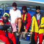 The group of us. Steve still wearing shorts as we approach the Labrador Current